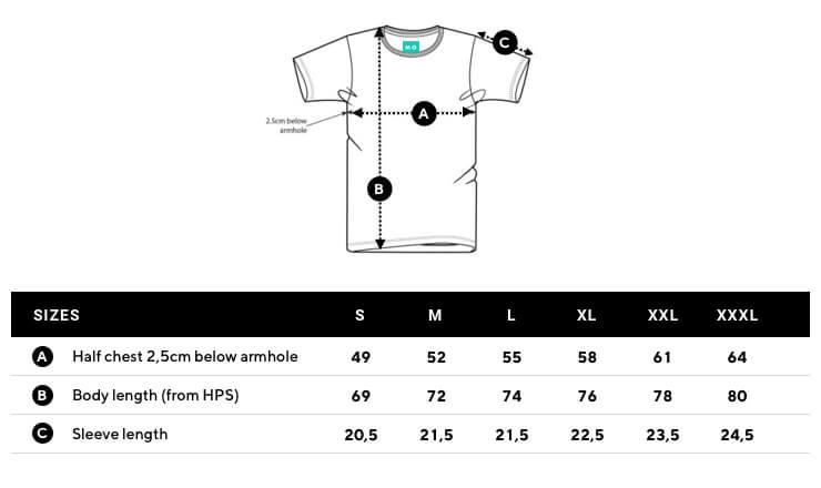 Size chart men t-shirts mangos on monday