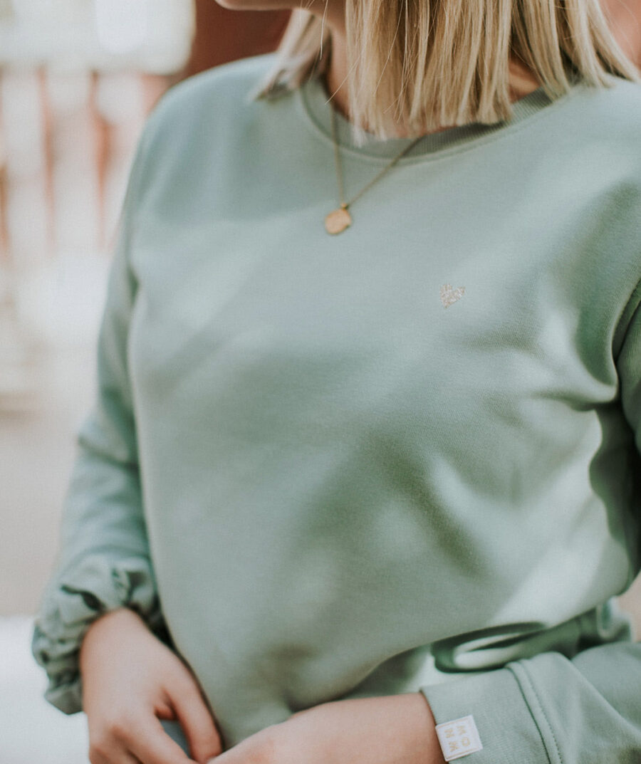 Love marshmallow green sweater by Mangos on Monday