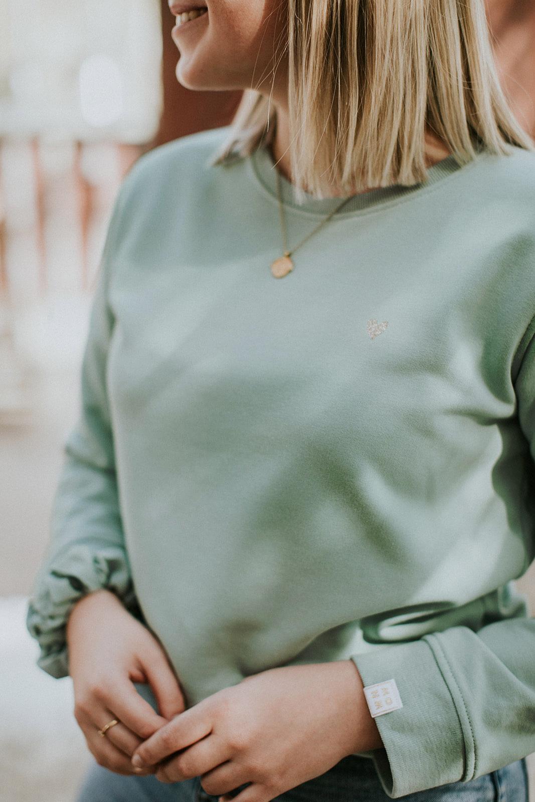 Love marshmallow green sweater by Mangos on Monday