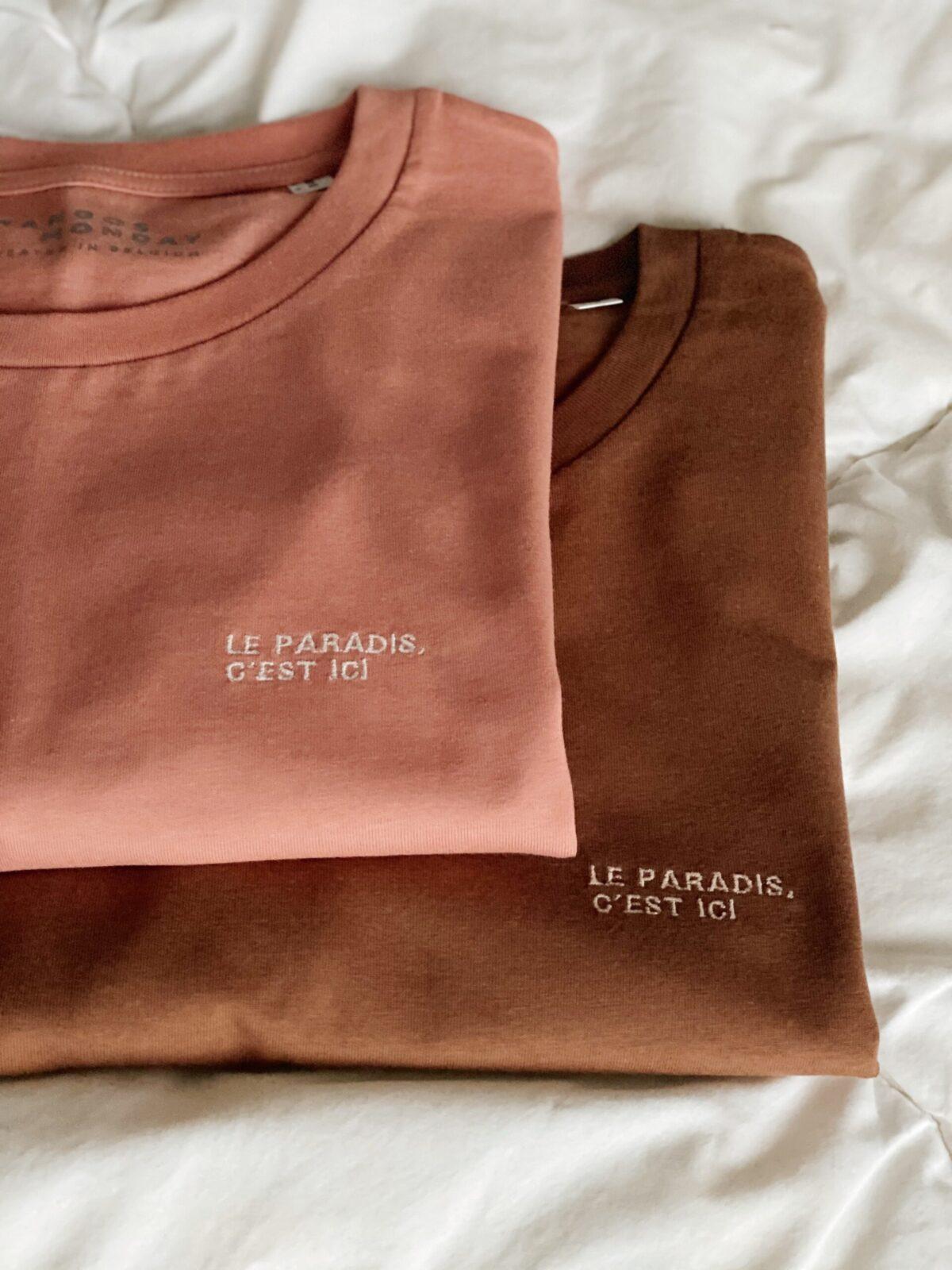 Le paradis, c'est ici t-shirt by Mangos on Monday